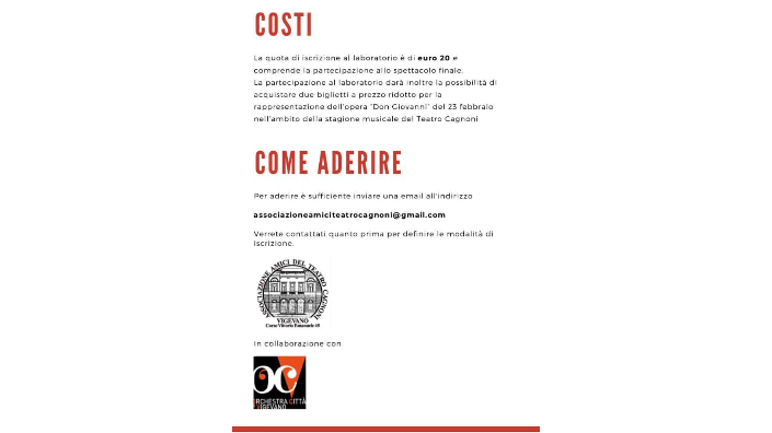 Quarta pagina brochure Bambini all'opera! 2019